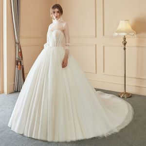 Elegant Ivory Wedding Dresses 2018 Ball Gown Beading Detachable With Shawl High Neck Backless Long Sleeve Chapel Train Wedding