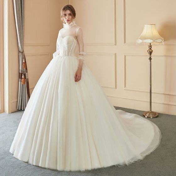 Elegant Ivory Wedding Dresses 2018 Ball Gown Beading Detachable With ...