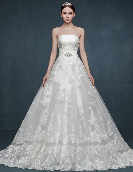 Sot Lyx Lang Svans Stora Gardar Beading Brud Bröllopsklänningen