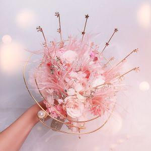 Wróżka Kwiatowa Eleganckie Rumieniąc Różowy Bukiety Ślubne 2020 Metal Aplikacje Frezowanie Kryształ Pióro Kwiat Rhinestone ślubna Ślub Akcesoria
