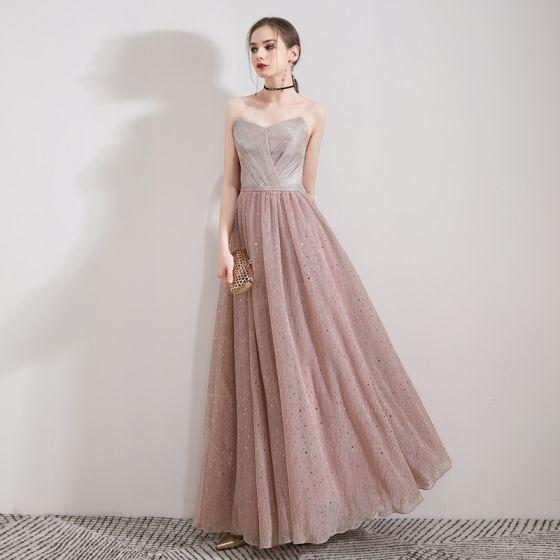 Elegantes Perla Rosada Vestidos de noche 2019 A-Line / Princess Sin Tirantes Sin Mangas Glitter Tul Largos Ruffle Sin Espalda Vestidos Formales