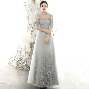Vintage / Retro Grey See-through Evening Dresses  2020 A-Line / Princess High Neck 3/4 Sleeve Flower Appliques Lace Floor-Length / Long Ruffle Formal Dresses