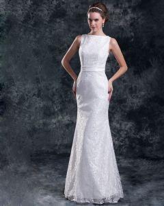 Lace Flower Bateau Neck Floor Length Sheath Wedding Dress
