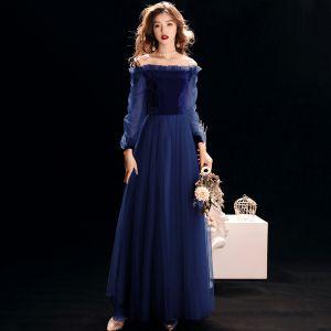 Niedrogie Królewski Niebieski Zamszowe Sukienki Wieczorowe 2019 Princessa Przy Ramieniu Bufiasta Długie Rękawy Długie Wzburzyć Bez Pleców Sukienki Wizytowe