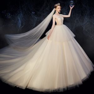 Classy Champagne Wedding Dresses 2019 Ball Gown Scoop Neck See-through Sequins Lace Flower Sleeveless Backless Royal Train