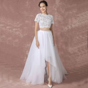 2 Piece Beach Wedding Dresses White 2017 A-Line / Princess Square Neckline Short Sleeve Bow Backless Tulle Lace Floor-Length / Long