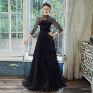 Elegant Navy Blue See-through Evening Dresses  2020 A-Line / Princess High Neck 3/4 Sleeve Sash Rhinestone Glitter Tulle Sweep Train Ruffle Backless Formal Dresses