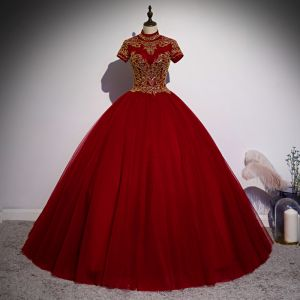 Elegant Burgundy Prom Dresses 2020 Ball Gown High Neck Beading Sequins Short Sleeve Backless Floor-Length / Long Formal Dresses