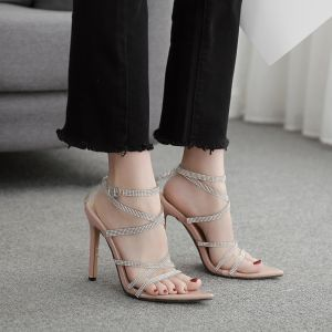 Sexy Beige Evening Party Womens Sandals 2020 Rhinestone X-Strap 12 cm Stiletto Heels Open / Peep Toe Sandals