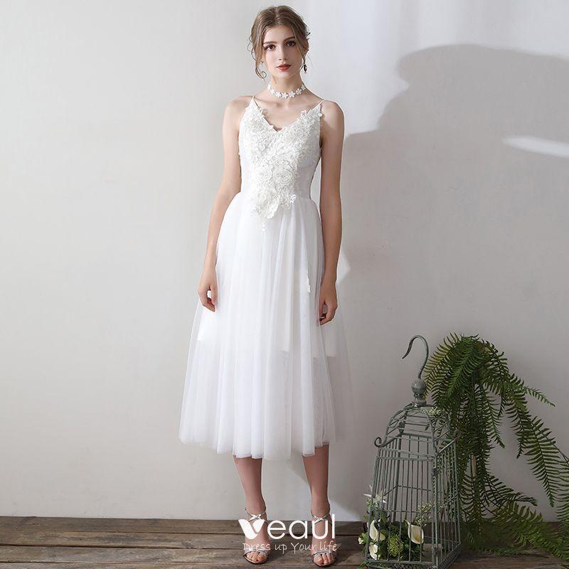 White Backless Lace Mermaid Wedding Dresses 2018 V Neck: Modern / Fashion White Tea-length Wedding 2018 A-Line