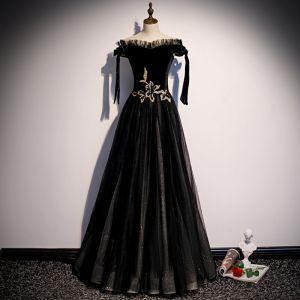 Elegant Black Suede Evening Dresses  2020 A-Line / Princess Off-The-Shoulder Short Sleeve Glitter Tulle Floor-Length / Long Ruffle Backless Formal Dresses