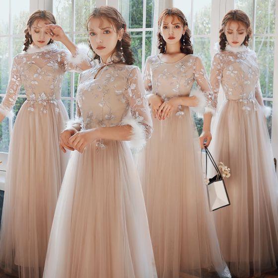 Kinesisk Stil Eleganta Rodnande Rosa Broderade Tärnklänningar 2021 Prinsessa Urringning 3/4 ärm Långa Klänning Till Bröllop