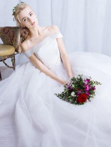 Einfache Brautkleider 2016 Ballkleid Von Der Schulter Satin Mit Weißen Tüll Hochzeitskleider
