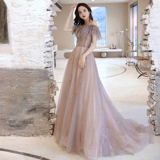 Charmant Violet Gris Robe De Soirée 2021 Princesse De l'épaule Perlage Perle Faux Diamant Manches Courtes Dos Nu Train De Balayage Robe De Ceremonie