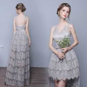 High Low See-through Grey Evening Dresses  2018 Scoop Neck Sleeveless Appliques Lace Bow Sash Asymmetrical Ruffle Backless Formal Dresses