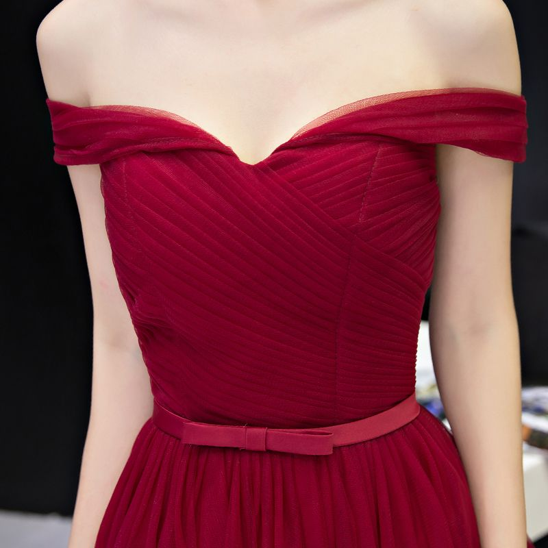 Sexy Red Formal Dresses 2017 A-Line / Princess Bow Backless Off-The-Shoulder Short Sleeve Short Party Dresses