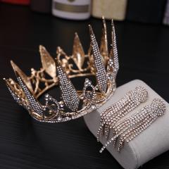 Mooie / Prachtige Goud Bruidssieraden 2019 Metaal Rhinestone Tiara Kwast Oorbellen Huwelijk Accessoires