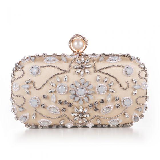 Luxus / Herrlich Gold Perlenstickerei Kristall Strass Cocktail Abend Clutch Tasche 2018