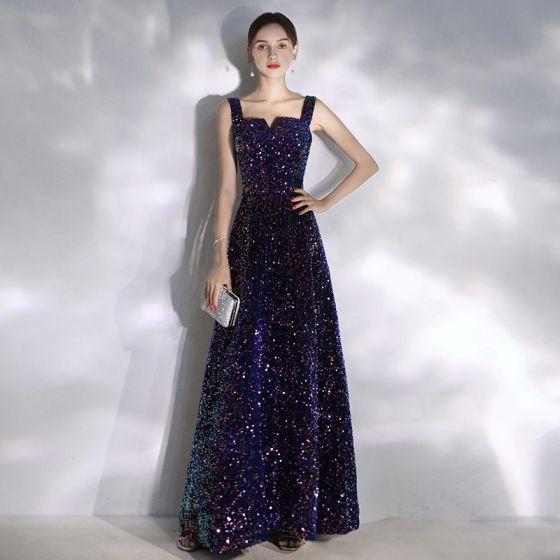 Sparkly Purple Starry Sky Evening Dresses  2020 A-Line / Princess Square Neckline Beading Sequins Sleeveless Backless Floor-Length / Long Formal Dresses
