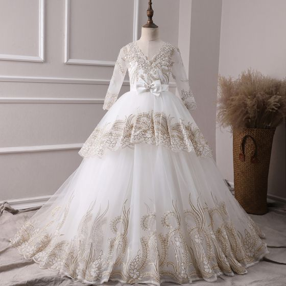 Chic / Beautiful Ivory See-through Flower Girl Dresses 2019 A-Line / Princess V-Neck Long Sleeve Bow Sash Appliques Lace Wedding Party Dresses Backless Sweep Train