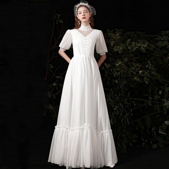 Affordable White Chiffon Outdoor / Garden Wedding Dresses 2021 A-Line / Princess High Neck Puffy 1/2 Sleeves Floor-Length / Long Ruffle