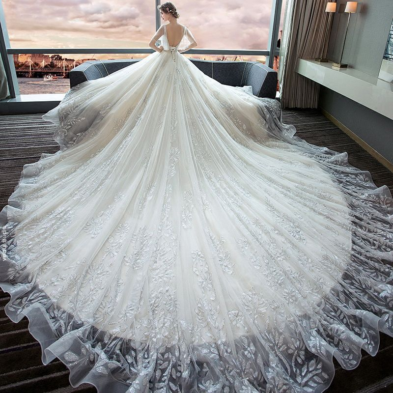 Luxury / Gorgeous Ivory Wedding Dresses 2018 Ball Gown V-Neck Short Sleeve Backless Glitter Tulle Beading Royal Train Ruffle