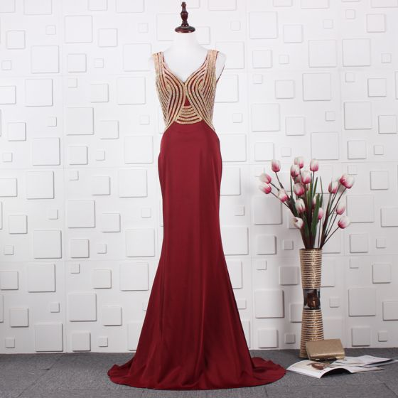 Elegant Red Evening Dresses  2020 A-Line / Princess Deep V-Neck Sleeveless Beading Rhinestone Sweep Train Ruffle Backless Formal Dresses