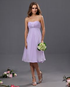 A-Line Strapless Tea Length Chiffon Bridesmaid Dress