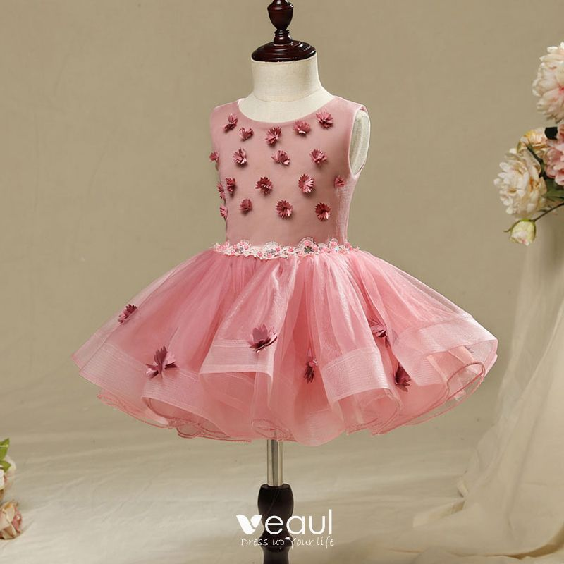Chic / Beautiful Hall Wedding Party Dresses 2017 Flower Girl Dresses Candy Pink Short Ball Gown Cascading Ruffles Scoop Neck Sleeveless Flower Appliques Lace Sash Rhinestone Pearl
