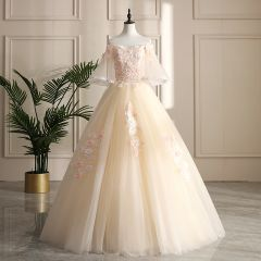 Chic / Beautiful Champagne Prom Dresses 2019 A-Line / Princess Off-The-Shoulder Lace Flower Appliques Pearl Sequins 1/2 Sleeves Backless Floor-Length / Long Formal Dresses