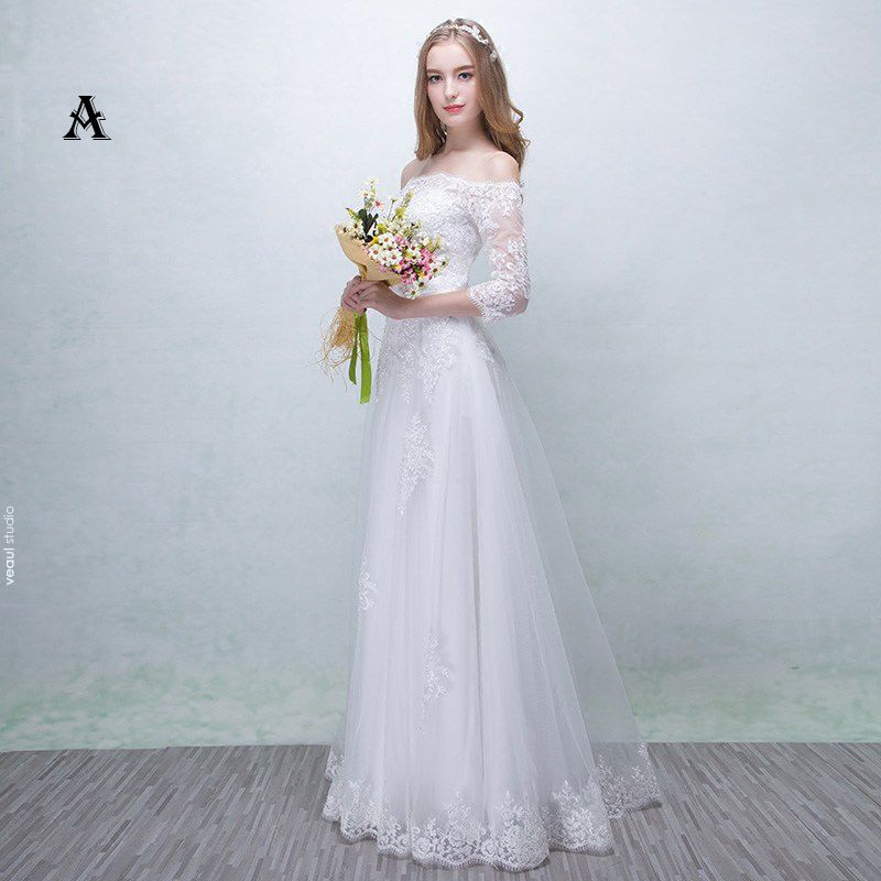 Chic / Beautiful Church Wedding Dresses 2017 Lace Appliques Backless Sash Square Neckline 3/4 Sleeve A-Line / Princess Floor-Length / Long