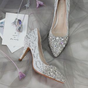 Glitter Zilveren Bruidsschoenen 2018 Leer Kristal Pailletten 8 cm Naaldhakken / Stiletto Spitse Neus Huwelijk Hoge Hakken