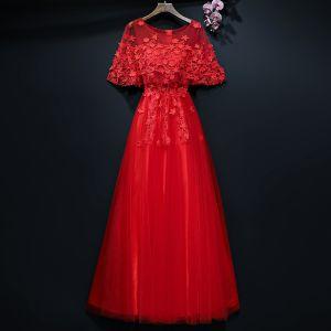 Chic / Belle Rouge Robe De Soirée 2017 Princesse Dentelle Fleur Fleurs Artificielles Encolure Dégagée 1/2 Manches Longueur Cheville Robe De Ceremonie