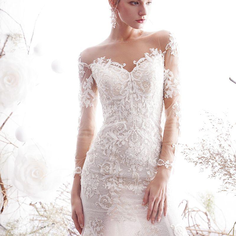 Charming Ivory Wedding Dresses 2019 Trumpet / Mermaid See-through Scoop Neck Beading Lace Flower 3/4 Sleeve Chapel Train