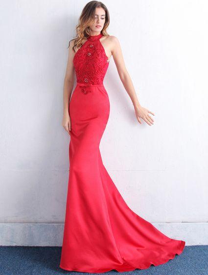 1cd53c60905a Elegant Selskabskjoler 2016 Havfrue Halterneck Applique Blonder Beading  Krystal Rød Satin Lang Kjole