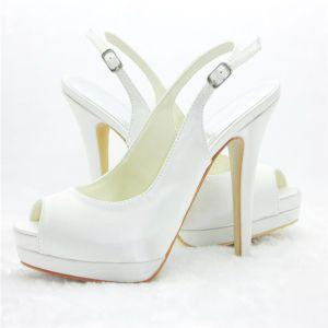 Białe Pantofle Peep Toe Buty Ślubne Szpilki Na Platformie Wysoki Obcas