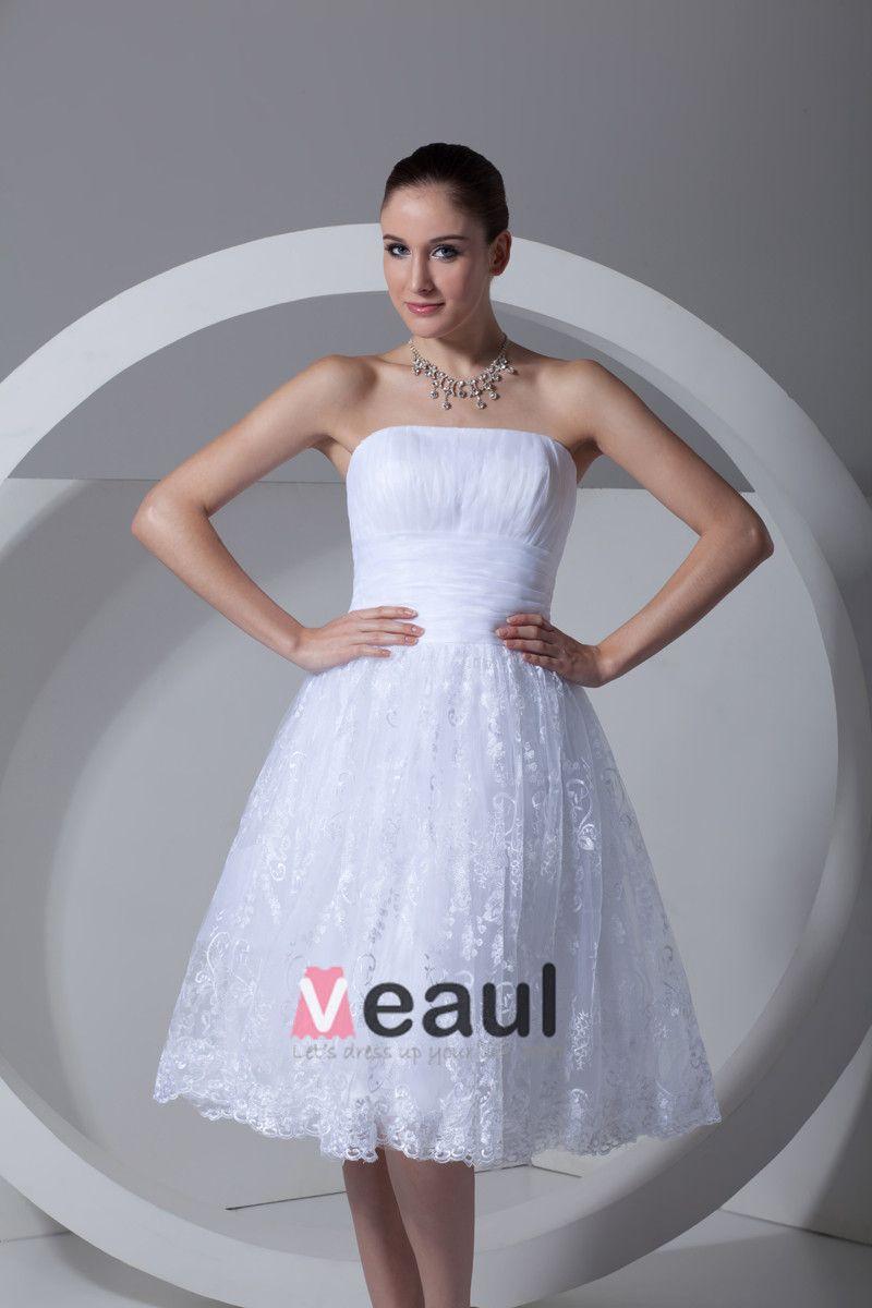 Lace Satin Flower Ruffle Strapless Tea Length Pleated Mini Wedding Dress