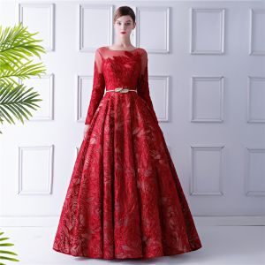 Elegante Rode Galajurken 2019 A lijn Doorzichtige Ronde Hals Lange Mouwen Strik Gordel Glans Kanten Lange Ruche Ruglooze Gelegenheid Jurken