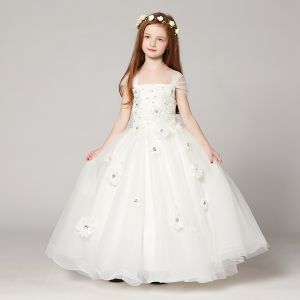 Chic / Beautiful White Flower Girl Dresses 2017 Ball Gown Shoulders Sleeveless Appliques Flower Rhinestone Floor-Length / Long Ruffle Wedding Party Dresses