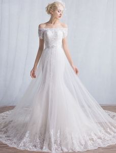Elegant Mermaid Wedding Dresses 2016 Off The Shoulder Applique Lace Sequins Long Wedding Dress With Short Sleeves