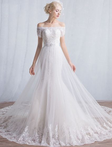 Elegant Mermaid Wedding Dresses 2016 Off The Shoulder Applique Lace Sequins Long Wedding Dress With Short Sleeves