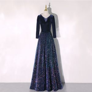 Sparkly Navy Blue Sequins Winter Evening Dresses  2020 A-Line / Princess V-Neck Long Sleeve Bow Sash Floor-Length / Long Ruffle Formal Dresses