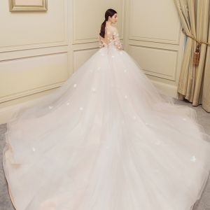 Chic / Beautiful Champagne Wedding Dresses 2018 Ball Gown Butterfly Scoop Neck Backless 1/2 Sleeves Royal Train Wedding
