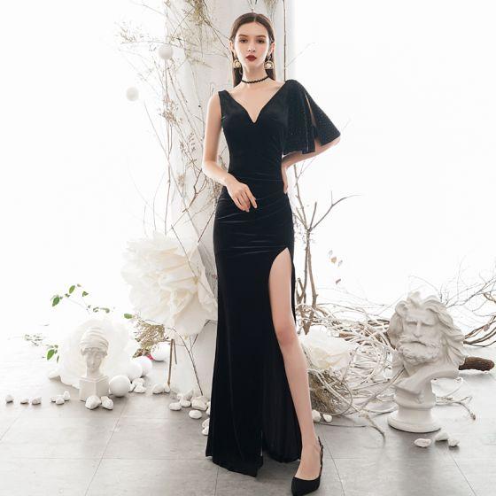 Sexy Negro Vestidos de noche 2020 Trumpet / Mermaid V-cuello Profundo 1/2 Ærmer Delante De Split Largos Sin Espalda Vestidos Formales