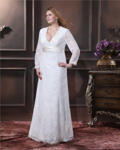 Lace Ruffle V Neck Plus Size Bridal Gown Wedding Dress