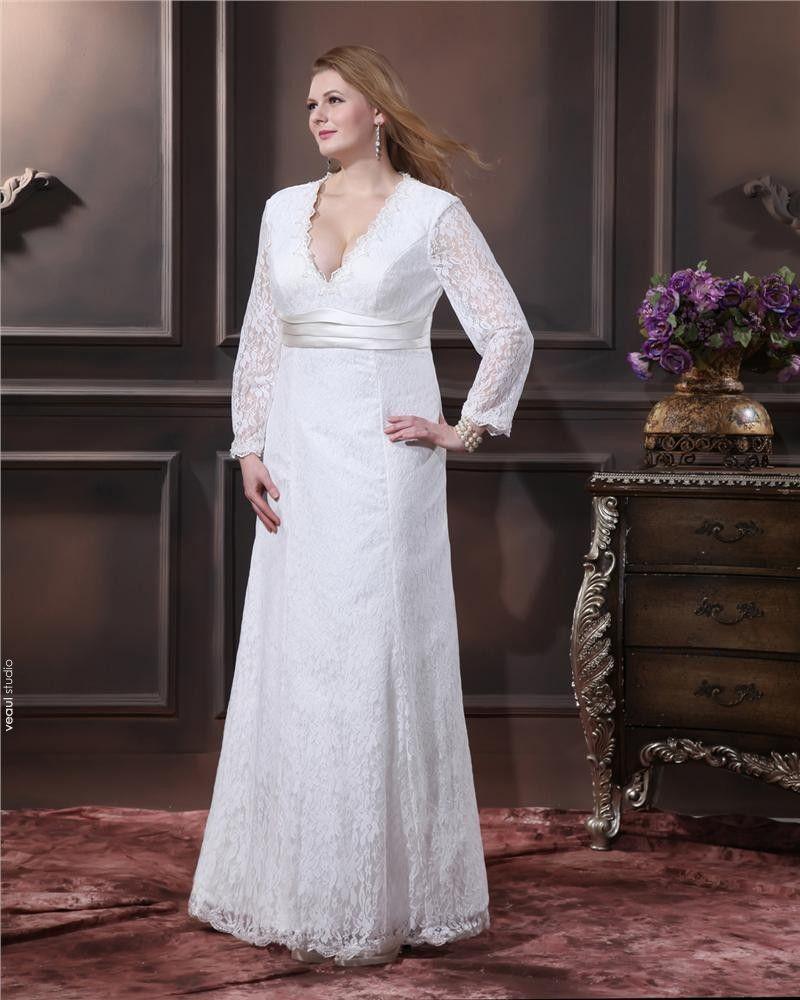 Lace Ruffle V Neck Plus Size Bridal Gown Wedding Dress