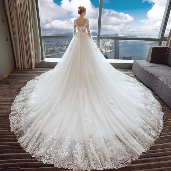 Elegant Ivory Wedding Dresses 2017 A-Line / Princess Scoop Neck Long Sleeve Appliques Pierced Lace Backless Chapel Train