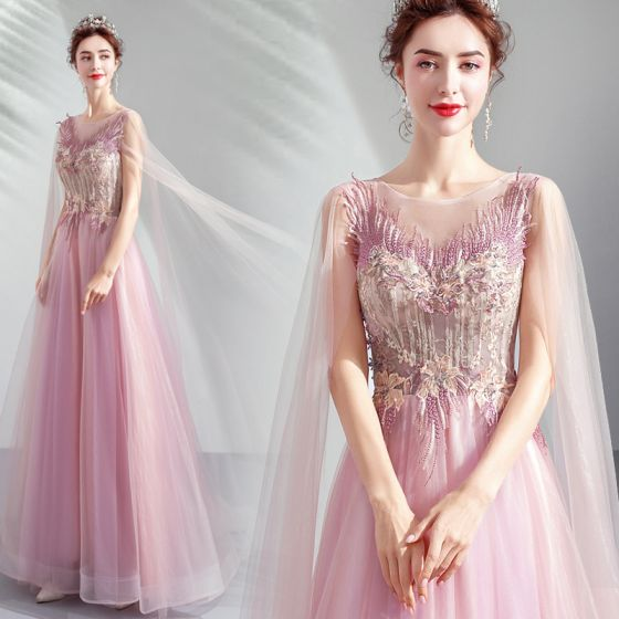 Elegant Candy Pink Formal Dresses 2019 A-Line / Princess Scoop Neck Lace Flower Crystal Short Sleeve Backless Floor-Length / Long Prom Dresses