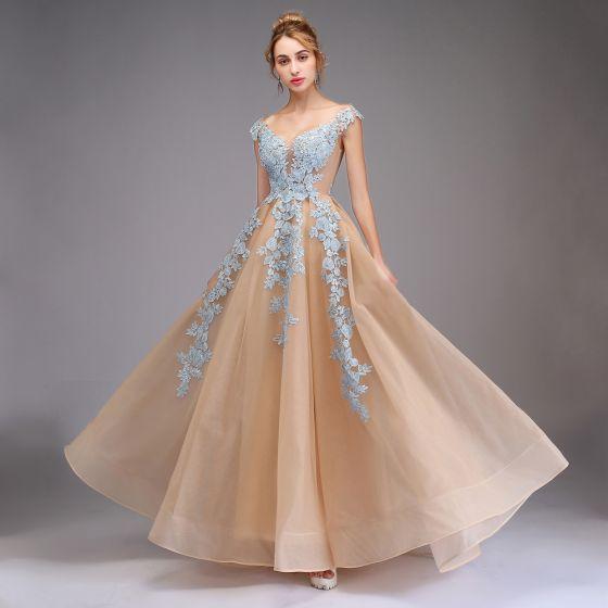 Espejismo Champán Transparentes Vestidos de gala 2020 A-Line / Princess V-Cuello Sin Mangas Apliques Con Encaje Largos Ruffle Vestidos Formales