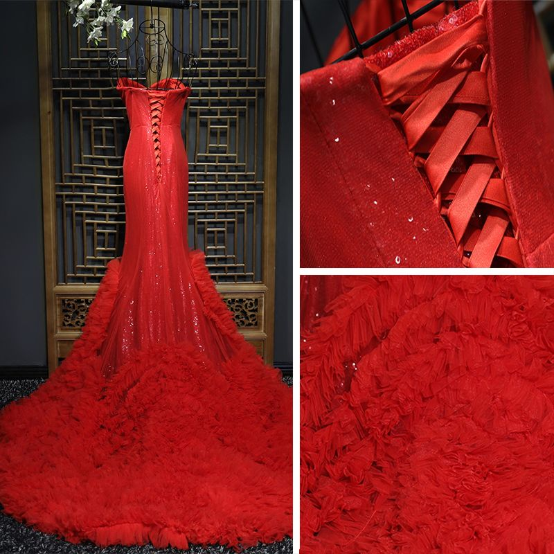 Amazing / Unique Red Formal Dresses Prom Dresses 2017 Sequins Sweetheart Sleeveless Court Train Trumpet / Mermaid